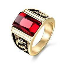 NEW Luxury Dragon Relief Golden Stainless Steel Rectangle Ruby Men Finger Rings