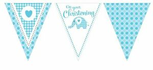 3.7m (12') Baby Boy Blue Elephant On Your Christening Bunting Party Decoration