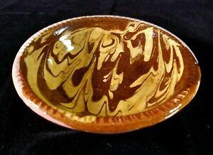 "Colonial Williamsburg Restoration Redware Sm Slip Glaze Bowl 5""x1.2"" Repro GOOD"