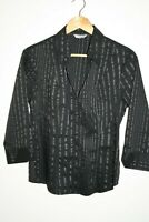 Marks&Spencer Women's Black Office 3/4 Sleeve Striped Shirt Top Blouse Size 12