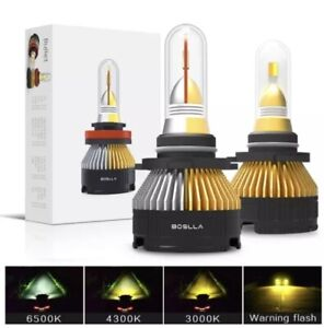 Boslla 9005 HB3 LED Headlights 4 Modes Colors, 6500K White/4300K/3000K/Warning