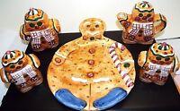 8 Pc Gingerbread Ceramic Set Creamer, Salt & Pepper, Serving Plate, 2 Wax Candle