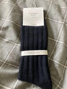 John Lewis Men's Cashmere Rich Navy  Socks Size 9-11