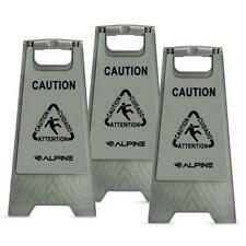 Alpine Industries Wet Floor Sign 24 in. Gray Bilingual Caution (3-Pack)