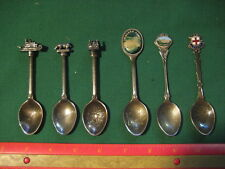 Lot of 6 Vintage Unusual WAPW Gt. Britain Silver Plated Souvenir Spoons
