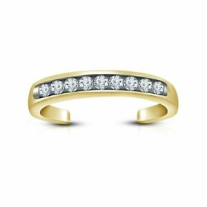 14k Yellow Gold Finish Round Cubic Zirconia Channel Set Adjustable Toe Ring