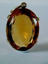 Citrine Stone Pendant Large Vintage 9ct Gold