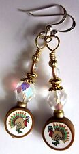 Tall Crystal Thanksgiving Turkey EARRINGS Kirsten USA Made Hostess Gift w Bag