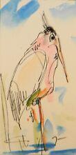 JOSE TRUJILLO ORIGINAL Watercolor Painting Small 3x6 Crane Bird Expressionist