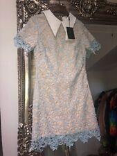 Vincentius Lace Crochet Nude Baby Blue Collar Dress Tunic Broken Zip