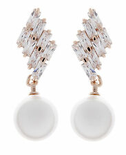 CLIP ON EARRINGS - gold plated drop earring with a pearl & clear crystals - Abi