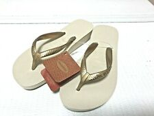 New Ladies Havaianas High Wedge Sandal Beige USA Size 4 (35)