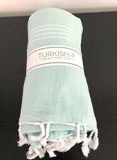"""Turkish T Basic Towel 100% Cotton Mint Aqua Green White Tassels 65"""" x 38"""""""