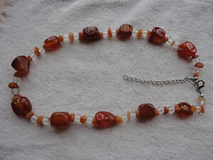 """Silver-plated lobster carnelian agate clear glass spacer 56 gram 18-20"""" necklace"""