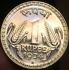 India 1974 B Mint Mark 1 Rupee Proof Coin- Some Toning - Please See Pictures