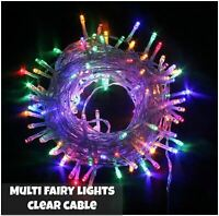 100 LED Multicoloured String Fairy Lights 8 Modes Mains Plug In Xmas Tree Decor