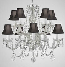 "CRYSTAL CHANDELIER CHANDELIERS LIGHTING WITH BLACK SHADES H 25"" X W 24"""