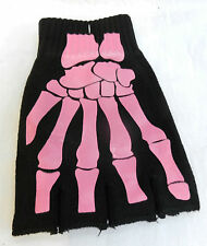 Pair of Black & Pink Skeleton X Ray Fingerless Gloves  - BNIB