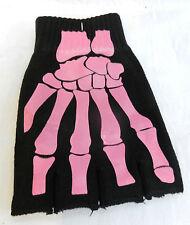 Pair of Back & Pink Skeleton X Ray Fingerless Gloves  - BNIB