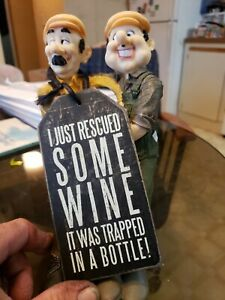 Wine Two Guys I Just Rescued Some Wine It Was Trapped In A Bottle  Figurine