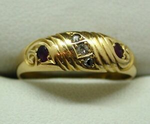 Victorian 18 carat Gold Ruby And Diamond Ring Size O