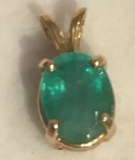 1.30 CT Solid Yellow Gold  Natural Unheated Colombian Emerald Pendant