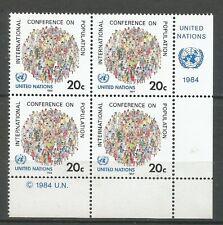 Nations Unies Bloc de 4 YT: 408 neufs ★★ Luxe 1984 / MNH BDF