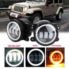 "30W 4"" Led Fog Light DRL Driving Lamp for Jeep Wrangler LJ JK TJ Bumper Tractor"
