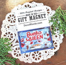 """DecoWords Fridge Magnet BUNKO QUEEN Party Favor Player GIFT New USA Blue 2""""x3"""""""