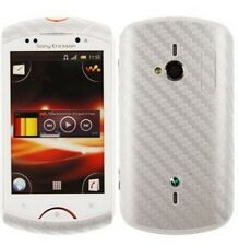Skinomi Carbon Fiber Silver Skin Cover+SP for Sony Ericsson Live with Walkman