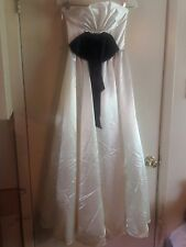 Gunne Sax 5 Womens Strapless Formal Prom After 5 Dress White w/Large Black bow.