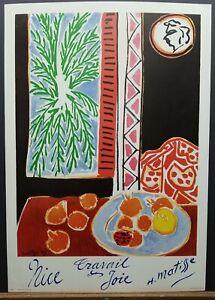 """Henri Matisse Vintage Litho """"Nice, Travail et Joie"""" 28.5""""×20"""" 1960's Penn Prints"""