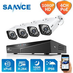 SANNCE 1080P PoE Außen Überwachungskamera HD Überwachungsset 4CH NVR IP66 Motion