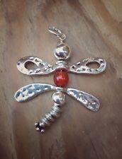 Handmade Medium Dragonfly Pendant With Carnelian Bead