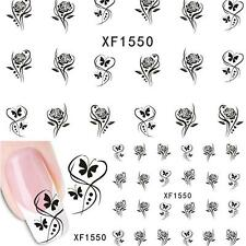 Nail Art Water Decals Transfers Butterfly Flowers Rose UV Tips Decoration XF1550