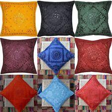 """Indian Handmade Mirror Work Kantha Decor Pillow Cushion-Cover Sofa Throw 16"""""""