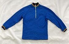 Vtg Blue Wool Blend Bicycling Cycling Jersey Shirt X-small Globe Sport Denmark