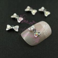20 Small Bow Tie Design Silver Tone Alloy Charms Nail Art Manicure DIY Decor 3D