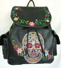 Black Sugar Skull with Embroidery Concealed Gun Carry Backpack Book Bag Carry-on