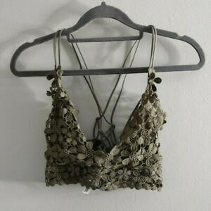 Intimately Free People Bralette Green Womens Small Miss Dazie Daisy Embroidered