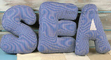 Set of 3 Nautical Cushions SEA Letter Scatter Cushion Beach Hut Holiday Home