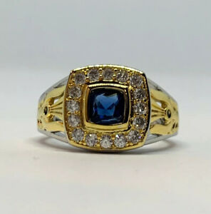 Blue And White Sapphire Gold And Silver Filled Copper Two Tone Ring Size 10 US