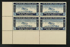 WAYZATA label. Newfoundland cancelled flight 1932 airmail LL corner block XF MNH