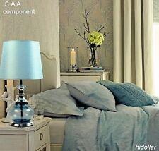 LARGE CLEAR BLUE GLASS BASE BEDSIDE TABLE LAMP DESK LIGHT H58 W30 3KG SAA