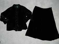Women's Ralph Lauren Black Velour Top & Skirt Set Size 2X 20/22