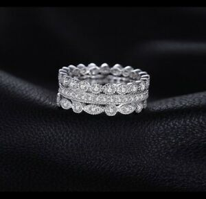 14K Gold Plate 925 SS Cu. Zirconia Stackable Rings-Size 9.5