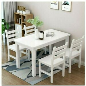 White Classic Solid Wooden Dining Table and 4 Chairs Set Kitchen Home