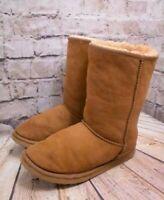 Womens Bama Tan Sheepskin Pull On Flat Mid Calf Boots Shoe Size UK 7 EUR 40