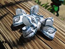 "A Pair of Med 2"" Football Eagles Team made with grosgrain ribbon  Hair Bows USA"