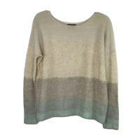 Vince Degrade Pullover Sweater Striped Small Cashmere Ivory Gray Turquoise